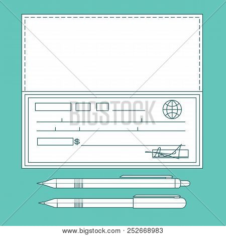 Bank Check, Bank Cheque . Stock Vector Illustration For Poster, Greeting Card, Website, Ad, Business