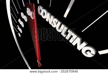 Consulting Expert Consultant Professional Service Speedometer Word 3d Illustration