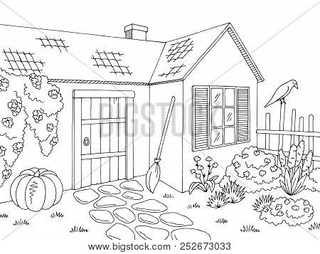 Witch House Exterior Graphic Black White Sketch Illustration Vector