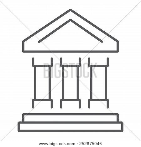 Bank Building Thin Line Icon, Finance And Banking, Bank Sign, Vector Graphics, A Linear Pattern On A