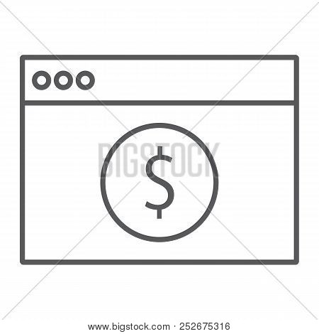 Online Banking Thin Line Icon, Finance And Banking, Payment Sign, Vector Graphics, A Linear Pattern