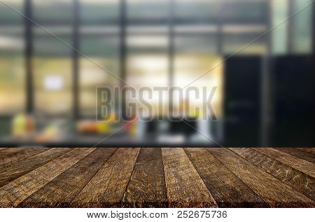 Wood Table Top On Blur Kitchen Or Cafe Room Background .for Montage Product Display Design Key Visua