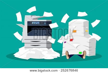 Office Multifunction Machine. Pile Of Paper Documents. Bureaucracy, Paperwork, Overwork, Office. Pri