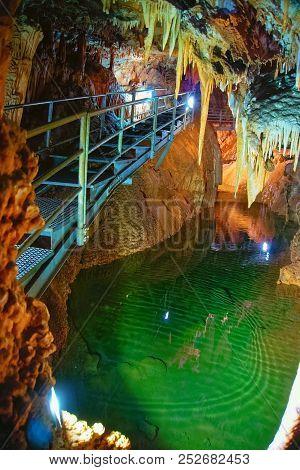 Fluminimaggiore, Sardinia, Italy - August 07, 2018: The Su Mannau Cave Is Located In The Territory O