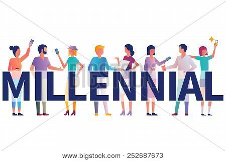Millennial Concept. Group Students With Gadgets In Their Hands. Vector Illustration Flat Design. Iso