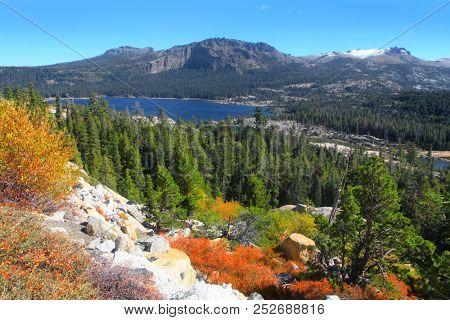 Silver lake in Sierra Nevada mountains