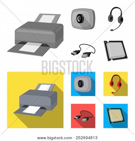 Webcam, Headphones, Usb Cable, Processor. Personal Computer Set Collection Icons In Monochrome, Flat