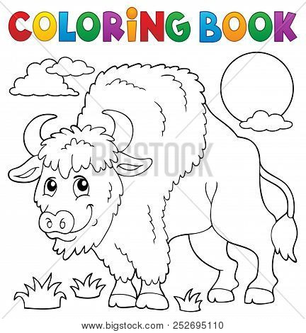 Coloring Book Bison Theme 1 - Eps10 Vector Picture Illustration.