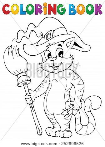 Coloring Book Halloween Cat Theme 3 - Eps10 Vector Picture Illustration.