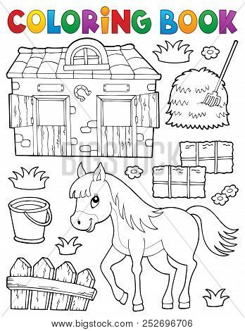 Coloring Book Horse And Related Objects - Eps10 Vector Picture Illustration.