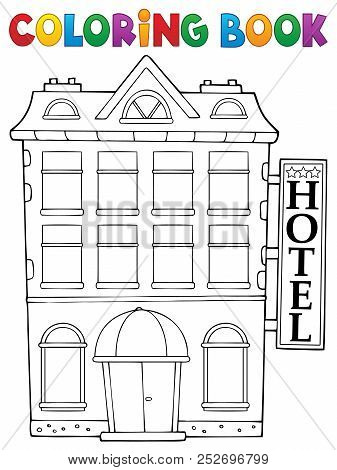 Coloring Book Hotel Theme 1 - Eps10 Vector Picture Illustration.