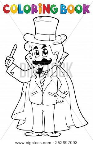 Coloring Book Magician Theme 1 - Eps10 Vector Picture Illustration.