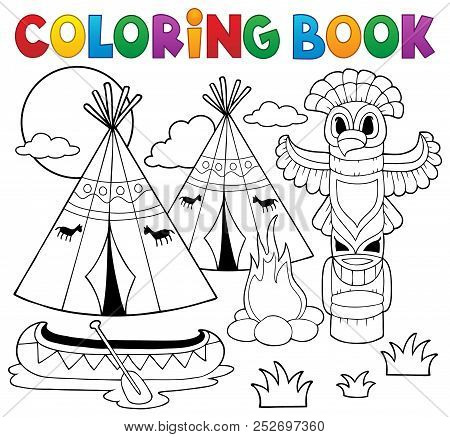 Coloring Book Native American Campsite - Eps10 Vector Picture Illustration.