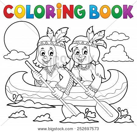 Coloring Book Native Americans In Boat - Eps10 Vector Picture Illustration.