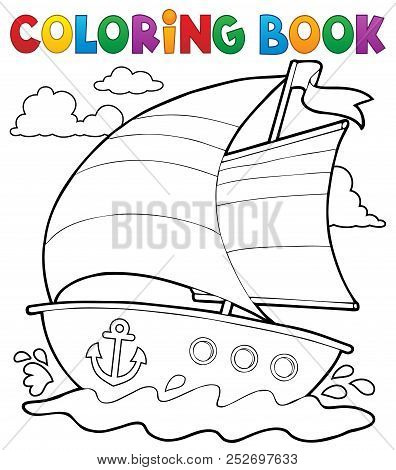 Coloring Book Nautical Boat 1 - Eps10 Vector Picture Illustration.