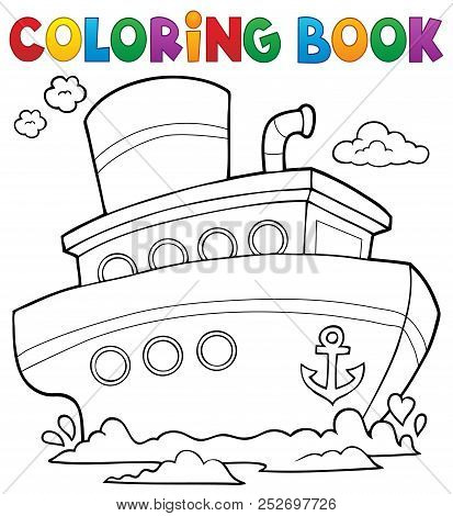 Coloring Book Nautical Ship 1 - Eps10 Vector Picture Illustration.