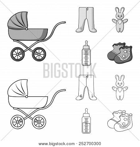 Stroller, bottle with a pacifier, toy, sliders.Baby born set collection icons in outline, monochrome style vector symbol stock illustration web. poster