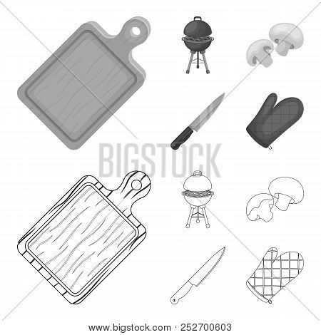 Barbeque Grill, Champignons, Knife, Barbecue Mitten.bbq Set Collection Icons In Outline, Monochrome