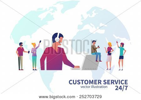 Customer Service Concept. Technical Support Online Global 247. Web Page, Banner, Presentation, Poste