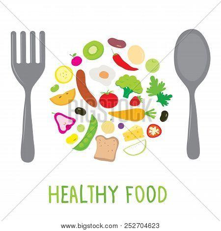 Fruit Vegetable Healthy Food Cook Ingredient Nutrient cute cartoon vector poster