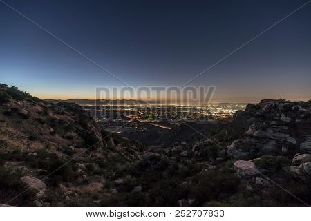 Predawn view of the San Fernando Valley in Los Angeles California.  Shot from Rocky Peak Park near Simi Valley.
