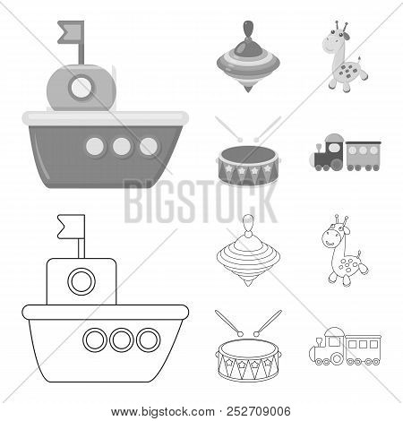 Ship, Yule, Giraffe, Drum.toys Set Collection Icons In Outline, Monochrome Style Vector Symbol Stock