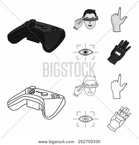 Virtual, Reality, Helmet, Computer, Technology, .virtual Reality Set Collection Icons In Outline, Mo