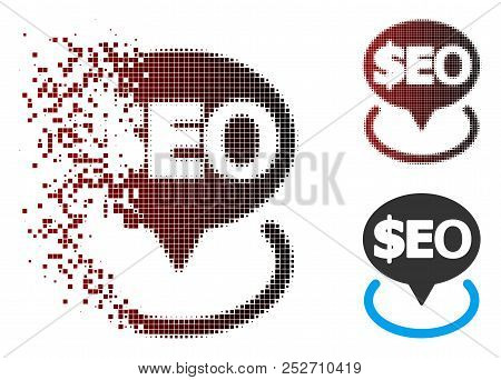 Vector Geotargeting Seo Icon In Dissolved, Dotted Halftone And Undamaged Whole Versions. Disappearin