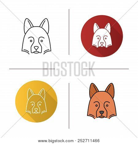 Shetland Sheepdog Icon. Herding Dog. Flat Design, Linear And Color Styles. Isolated Vector Illustrat