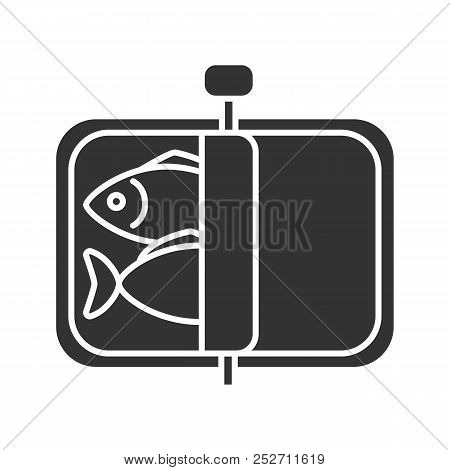 Sprats Glyph Icon. Canned Fish. Silhouette Symbol. Negative Space. Vector Isolated Illustration