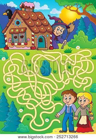 Maze 30 With Hansel And Gretel Theme - Eps10 Vector Picture Illustration.