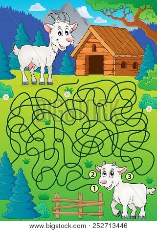 Maze 32 With Goat Theme - Eps10 Vector Picture Illustration.