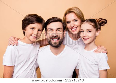 Closeup Portrait Of Adorable Attractive Beautiful Young Happy Smiling Family, Bearded Father, Blonde