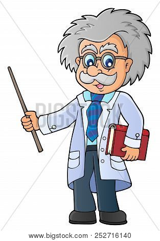 Scientist With Pointer Theme Image 1 - Eps10 Vector Picture Illustration.