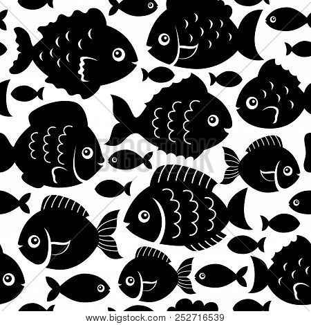 Seamless Fish Silhouettes Theme 1 - Eps10 Vector Picture Illustration.