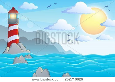 Seascape With Lighthouse Theme 1 - Eps10 Vector Picture Illustration.