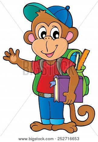 School Monkey Theme Image 1 - Eps10 Vector Picture Illustration.