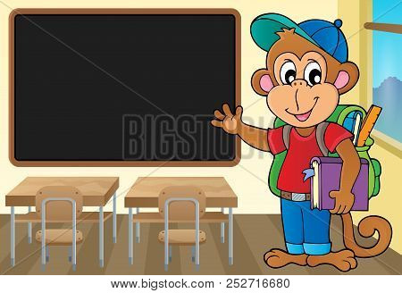 School Monkey Theme Image 2 - Eps10 Vector Picture Illustration.