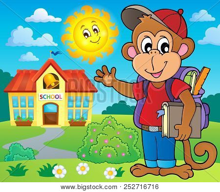 School Monkey Theme Image 3 - Eps10 Vector Picture Illustration.