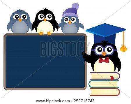 School Penguins Theme Image 1 - Eps10 Vector Picture Illustration.