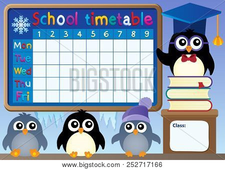 School Timetable With Penguins - Eps10 Vector Picture Illustration.