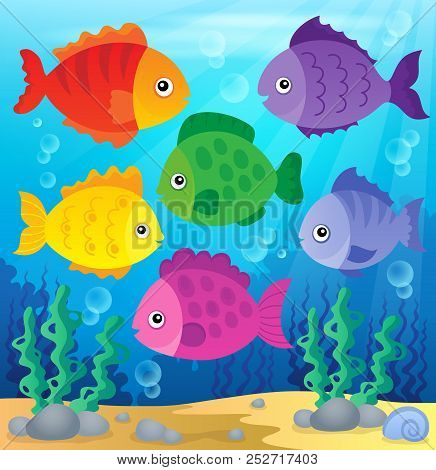 Stylized Fishes Theme Image 2 - Eps10 Vector Picture Illustration.