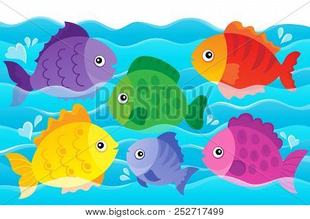 Stylized Fishes Theme Image 4 - Eps10 Vector Picture Illustration.