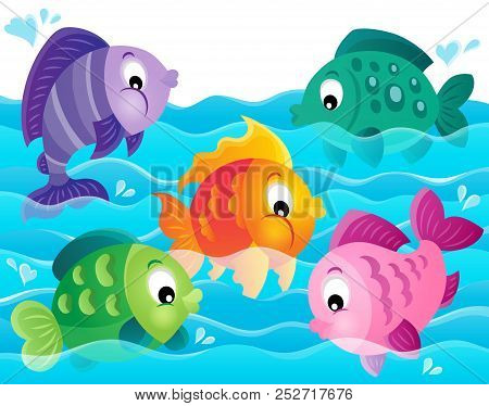 Stylized Fishes Theme Image 5 - Eps10 Vector Picture Illustration.