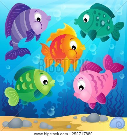 Stylized Fishes Theme Image 6 - Eps10 Vector Picture Illustration.