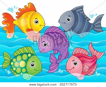 Stylized Fishes Theme Image 7 - Eps10 Vector Picture Illustration.