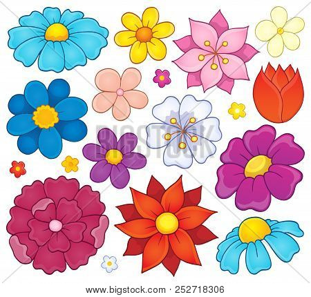 Stylized Flower Heads Theme Set 1 - Eps10 Vector Picture Illustration.
