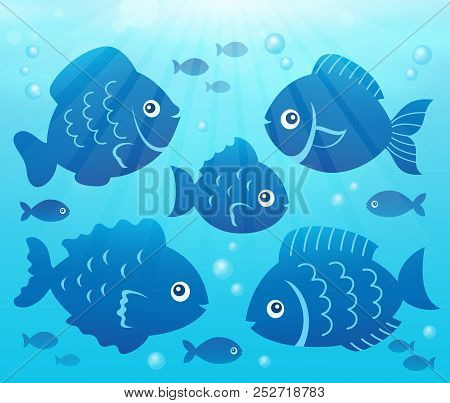 Water And Fish Silhouettes Image 2 - Eps10 Vector Picture Illustration.