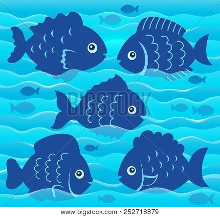 Water And Fish Silhouettes Image 4 - Eps10 Vector Picture Illustration.