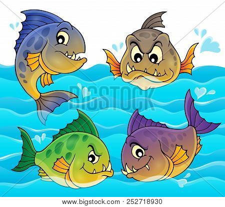Water And Four Piranhas - Eps10 Vector Picture Illustration.